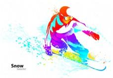 运动的人彩色抽象彩色体育与舞蹈矢量素材