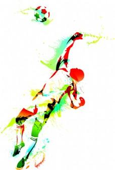 彩色体育水彩矢量素材