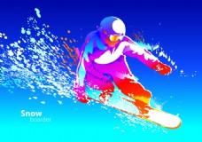 蓝色背景滑雪矢量素材