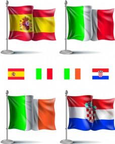 多个国家旗帜欧洲杯足球矢量素材