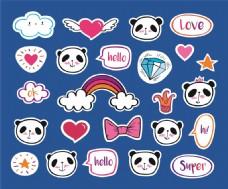 动物贴纸可爱卡通熊猫装饰素材