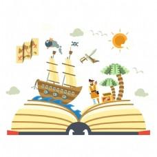 手绘海盗船书本元素