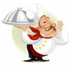 手绘白衣厨师元素