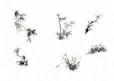 手绘水墨草丛元素