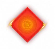 手绘红福春联元素