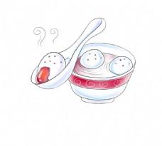 手绘汤圆碗盘元素