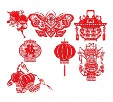 手绘春节剪纸元素