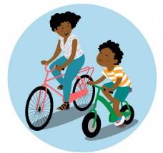 妈妈儿童骑自行车矢量元素