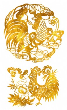 金色剪纸鸡年元素