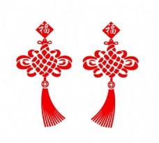 手绘红色中国结元素