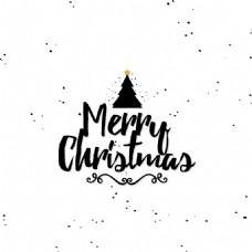 黑色圣诞节创意文字设计矢量