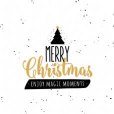 圣诞树圣诞节创意文字设计矢量