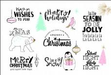 创意动物圣诞节艺术字矢量素材