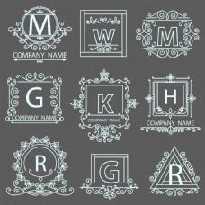 英文字母花纹标签蒙版边框矢量素材