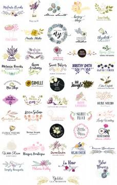 50个花朵花卉Logo矢量素材合集