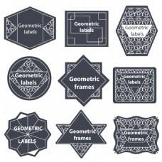 复古花纹标签蒙版边框矢量素材