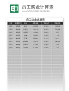 员工奖金计算表excel表格模板