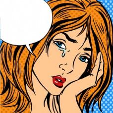 伤心欧美卡通海报漫画风格人物矢量素材