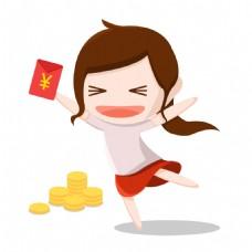 扁平化女孩红包金币