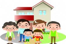 卡通家庭房产矢量素材