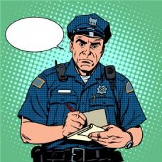 警察海报漫画风格人物矢量素材