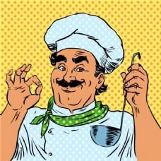 厨师欧美卡通海报漫画风格人物矢量素材