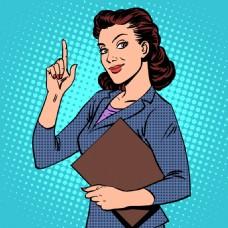 女士欧美卡通海报漫画风格人物矢量素材