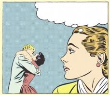 单身狗的凝望卡通海报漫画风格人物矢量