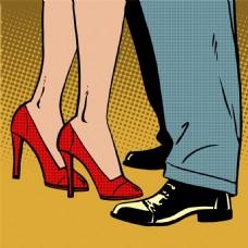 跳舞卡通海报漫画风格人物矢量