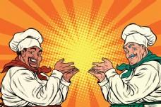 胖厨师欧美卡通海报漫画风格人物矢量素材