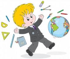 卡通上学的小男孩矢量插画素材