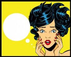 吃惊美女欧美卡通海报漫画风格人物矢量素材