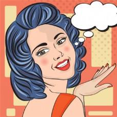 蓝发美女欧美卡通海报漫画风格人物矢量