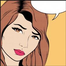 咖啡色头发欧美卡通海报漫画风格人物矢量
