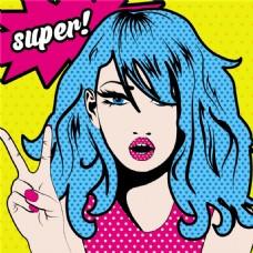 蓝发美女欧美卡通海报漫画风格人物矢量素材