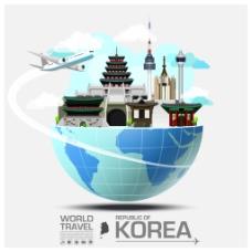 创意韩国旅行建筑插画