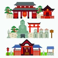 扁平化中国古代建筑房屋矢量素材