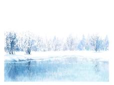 冬天漫天大雪风情插画