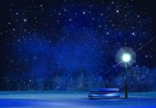 冬夜星空风景插画