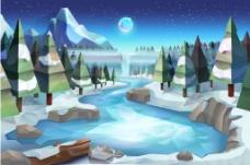 冬季湖泊风景插画