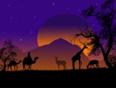 非洲草原落日风景插画