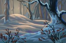 雪地里的大树插画