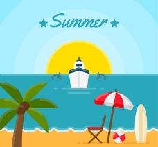 夏季游轮和沙滩风景矢量