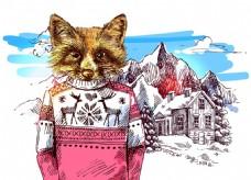 狐狸雪山冬季动物拟人装饰画矢量