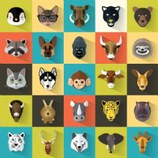 卡通矢量动物头像