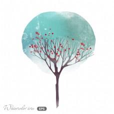 蓝色树叶红色花朵夜晚冬日场景矢量素材