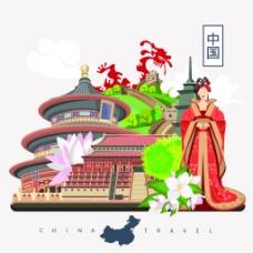 中国传统文化人物扁平化旅游矢量设计素材
