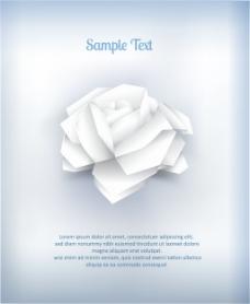 立体折纸白玫瑰花插画