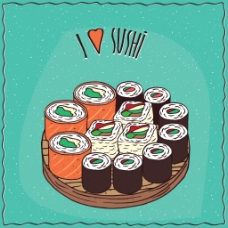 紫菜三文鱼寿司矢量插画