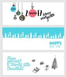 蓝色简约圣诞新年横幅海报矢量